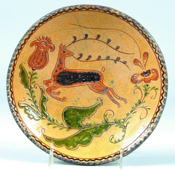 5: Greg Shooner 2003 Redware Plate having stag and flor