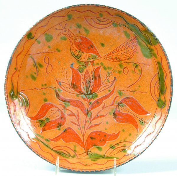 7: Greg Shooner 2002 Redware Sgraffito Decorated plate