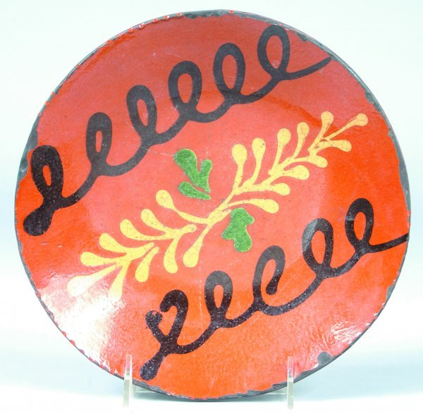 8: Greg Shooner 1994 Redware Slip Decorated Plate havin