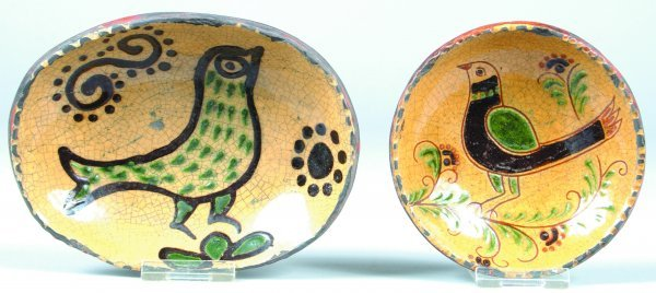9: Two Greg Shooner Small Redware Bird Decorated Plates