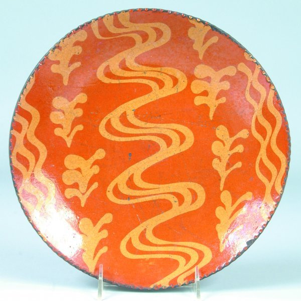 10: Greg Shooner 2001 Redware Slip decorated Plate havi