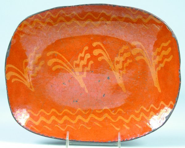 13: Greg Shooner 2004 Redware Slip Decorated Platter ha