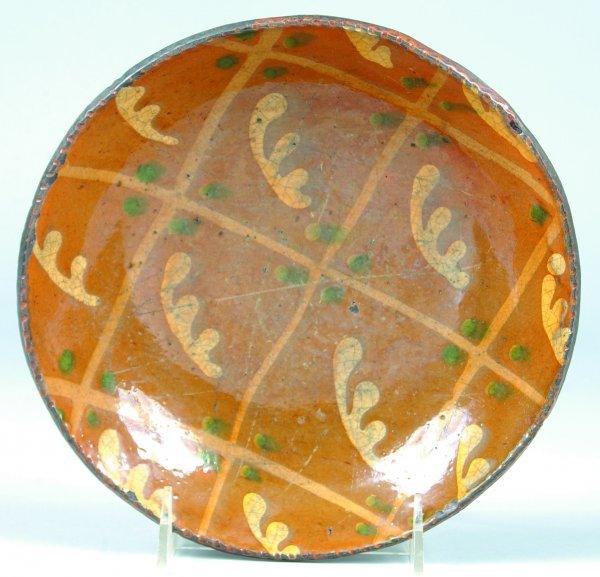 16: Greg Shooner 2003 Redware Slip Decorated Plate havi
