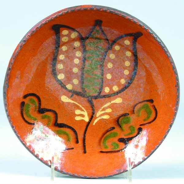 17: Greg Shooner 2003 Redware Tulip Slip Decorated Plat