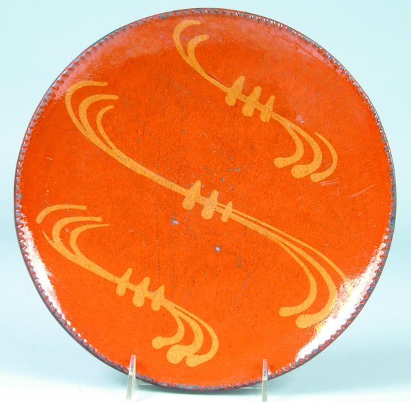 18: Greg Shooner 2004 Redware Slip Decorated Plate havi