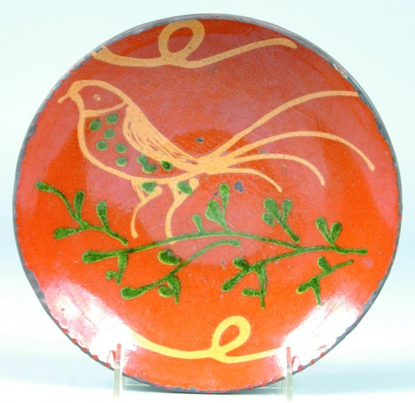22: Greg Shooner 1996 Redware Bird Slip Decorated Plate