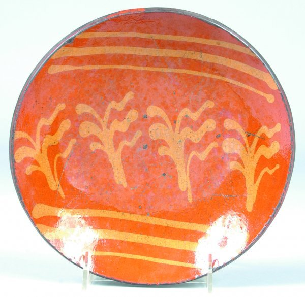 24: Greg Shooner 2003 Redware Slip Decorated Plate havi