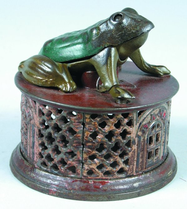 236: Cast Iron Frog on Lattice Mechanical Bank manufact