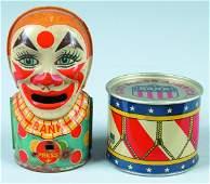 337 J Chein Tin Lithograph Clown Bank and Drum clown
