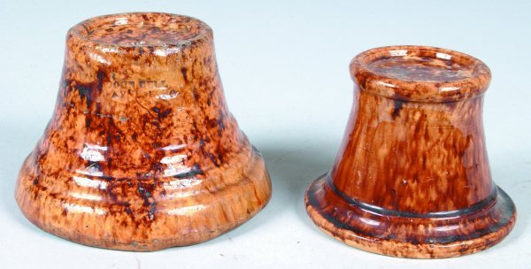 373: Two John Bell Waynesboro Redware Stove Casters, ro