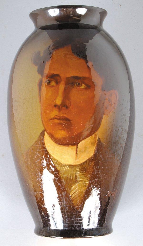 375: Roseville Rozane Portrait Vase, portrait of  gentl