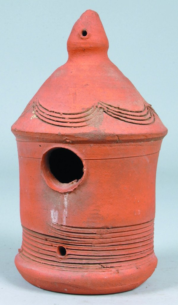 377: Unglazed Redware Bird House with conical shape roo