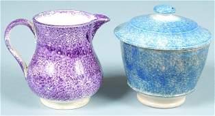 508: Two Various Pieces of Spatterware China; purple bu