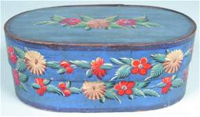 551 Decorated Softwood Brides Box oval bentwood with