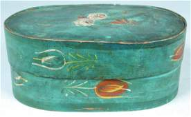 Decorated Softwood Bride's Box, oval bentwood with