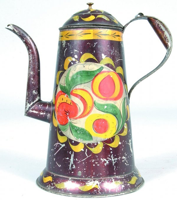 610: Toleware Coffee Pot with gooseneck spout, domed li
