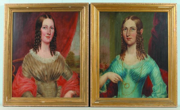 843: Pair of Portraits of Two Ames Sisters of Ipswich,