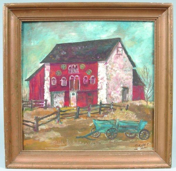851: Davies Farm Scene Oil on Wood Panel depicting ston