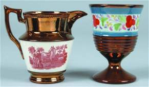 864: Two various pieces of Copper lustre china; cream p