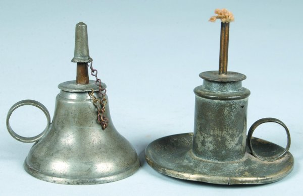 19: Two Pewter Sparkling Oil Lamps, signed William McQu
