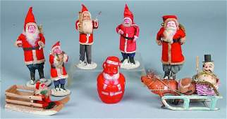 415 Eight Various Santa Claus figures seven with  com