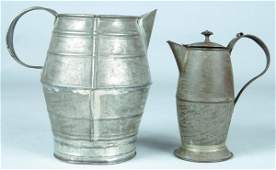 472: 19th Century Tin Cream Jug and Covered Syrup Jug,