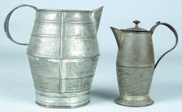 19th Century Tin Cream Jug and Covered Syrup Jug,
