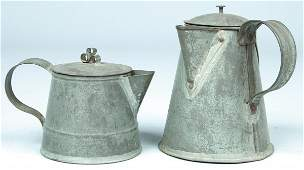 502: Two 19th Century Tin Covered Cream Jugs with taper