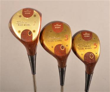 3 Clubs; Titleist Tour Model Persimmon 1-3-5 Woods