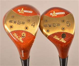 2 Clubs; Wood Brothers Persimmon Golf 4-5 Woods