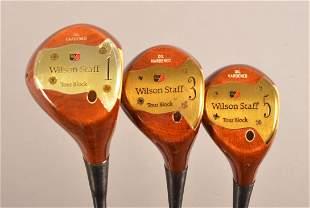 3 Clubs; Wilson Staff Persimmon 1-3-5 Woods