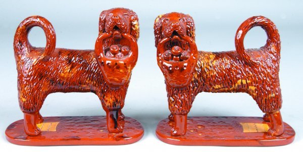 1: Pair of Large Breininger Redware Dog Figures, (Copie