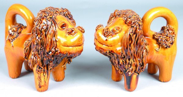 3: Pair of Large Breininger Redware Lion Figures, (Copi
