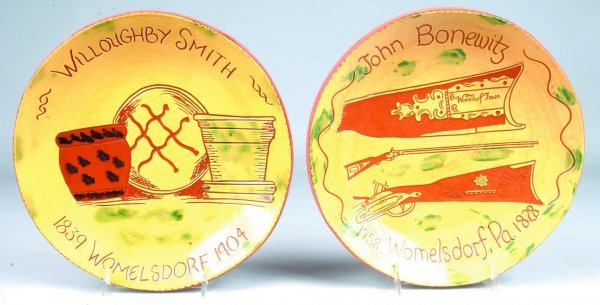 6: Two Breininger Redware Sgraffitto Decorated Plates,