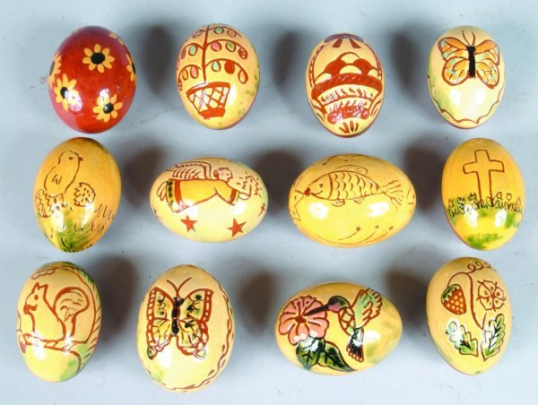 7: Twelve Breininger Redware Sgraffitto Decorated Eggs
