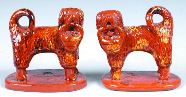 8: Pair of Small Breininger Redware Dog Figures, (Copie