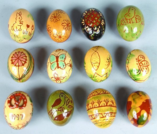 9: Twelve Breininger Redware Sgraffitto Decorated Eggs