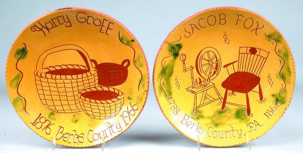 10: Two Breininger Redware Sgraffitto Decorated Plates,