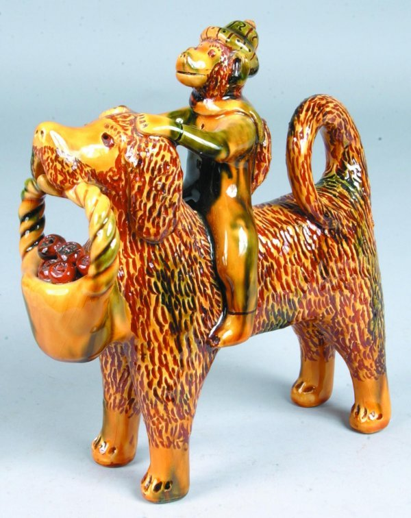 11: Large Breininger Redware Standing Dog with Monkey R