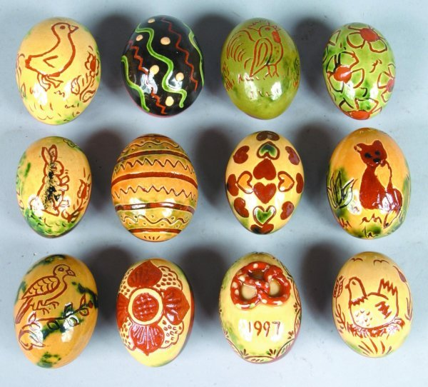 13: Twelve Breininger Redware Sgraffitto Decorated Eggs