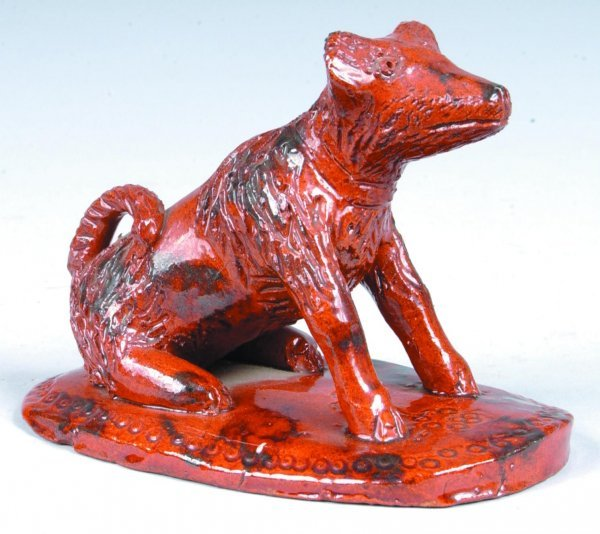 14: Breininger Redware Seated Dog Figure, (Copy of Bell