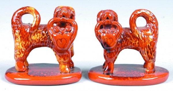 15: Pair of Breininger Miniature Redware Dog Figures, (
