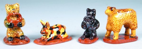 16: Four Breininger Redware Animal Figures, bear with b