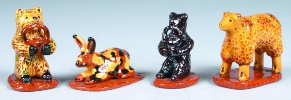 21: Four Breininger Redware Animal Figures, Two bear wi