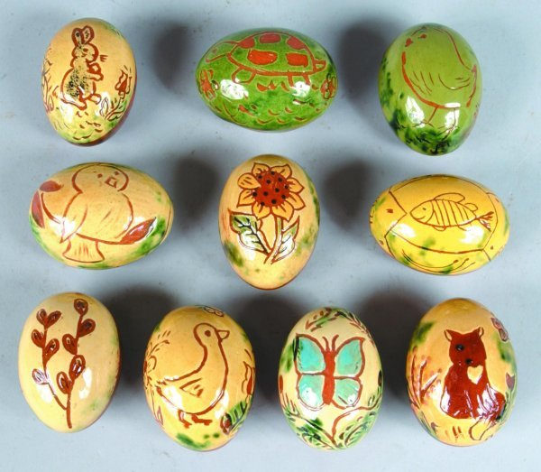 22: Ten Breininger Redware Sgraffitto Decorated Eggs, i