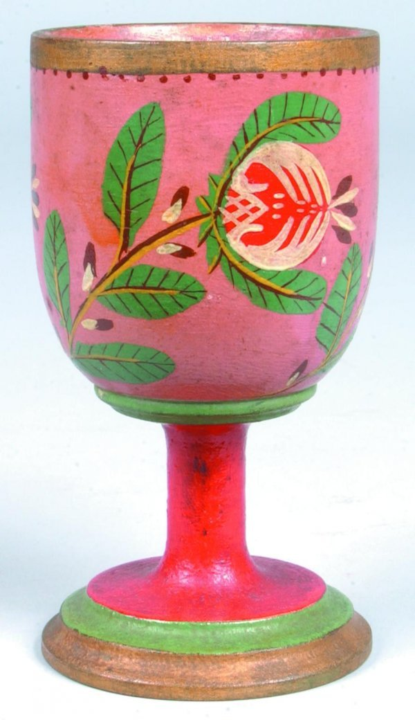 167: Lehnware Turned and Painted Wood Goblet, salmon gr