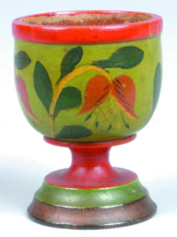 168: Lehnware Turned and Painted Wood Footed Egg Cup, g