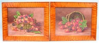 "Pair of Fruit Still Life Paintings signed ""F. Vana"