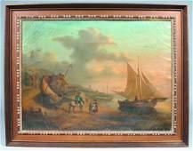 274 Oil on Canvas depicting European Shore Side Villag