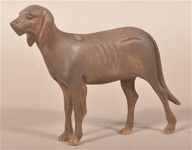Antique Carved Wood Folk Art Figure of Hound